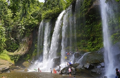 Kulen hill 1000 Shiva Lingas Natural waterfall  Beng Mealea Temple Deep jungle explorations One day tour